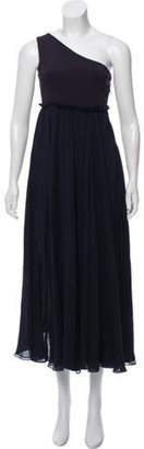 Pierre Balmain One-Shoulder Silk Dress Navy One-Shoulder Silk Dress