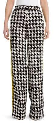 Off-White Houndstooth Wide-Leg Trousers