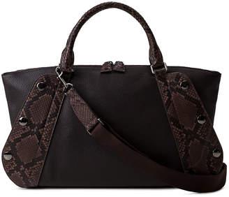 Akris Aimee Small Bicolor Leather/Python Satchel Bag