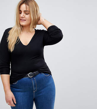 Asos DESIGN Curve ultimate top with long sleeve and v-neck in black