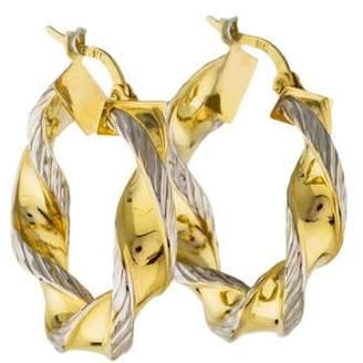 14K Two-Tone Twisted Hoop Earrings
