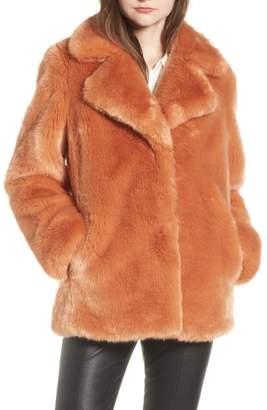 AVEC LES FILLES Notch Collar Faux Fur Coat
