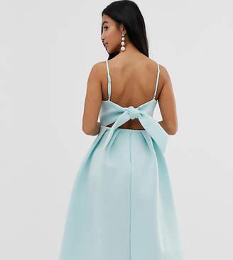 Asos DESIGN Petite bow back midi prom dress