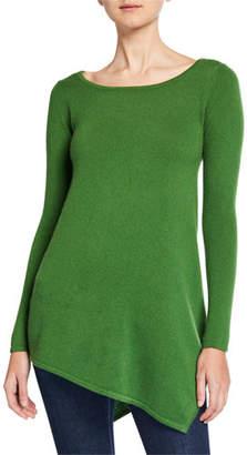 Neiman Marcus Boat-Neck Long-Sleeve Asymmetric Cashmere Sweater