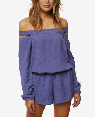 O'Neill Juniors' Ellsworth Textured Off-The-Shoulder Romper