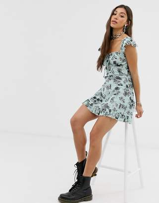 New Girl Order tea dress with frill detail in tropical print
