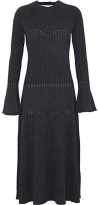 Sandro Bliss Open-Back Ribbed-Knit Midi Dress