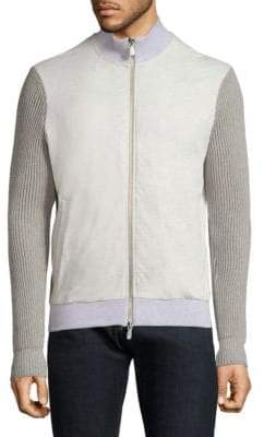 Eleventy Full-Zip Cotton Sweater Jacket
