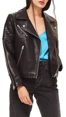 Topshop Blossom Faux Leather Biker Jacket