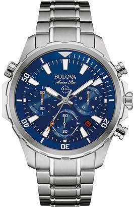 Bulova Marine Star Mens Stainless Steel Chronograph Watch 96B256