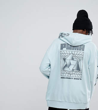 Puma Hoodie With Back Print In Green Exclusive To ASOS