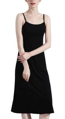 936dbc13fb4 FEOYA Women s Full Slip Sleepwear Soft Cotton Cami Dress Basic Seamless Under  Dress Spaghetti Strap Long