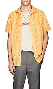 Onia Men's Wave-Print Cotton Camp Shirt - Yellow