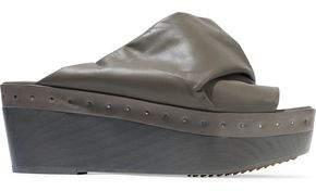 Rick Owens Gathered Leather Platform Mules
