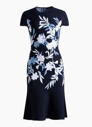 St. John Shadow Floral Jacquard Fit & Flare Dress