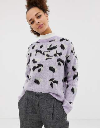 New Look brushed animal sweater in purple pattern