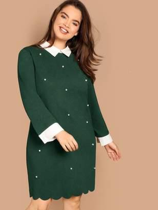 fb8ae39607 Shein Plus Keyhole Back Pearls Beaded Scallop Dress