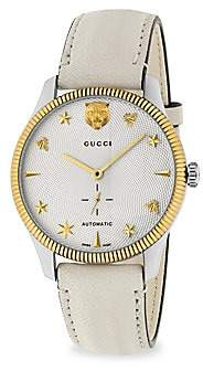 Gucci Women's G-Timeless Stainless Steel Case 40MM Automatic Silver Guilloché Dial Crà ̈me Leather Watch
