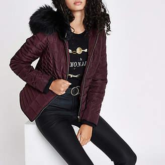River Island Dark red padded faux fur hood puffer jacket