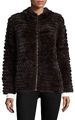 Adrienne Landau Women's Knit Rabbit Fur Zip Jacket