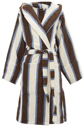 Tekla Fabrics - Organic Cotton Terry Hooded Robe - Womens - Brown Stripe
