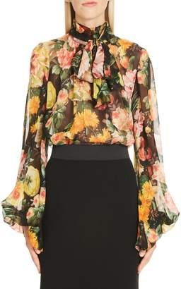 Dolce & Gabbana Floral Print Tie Neck Chiffon Blouse