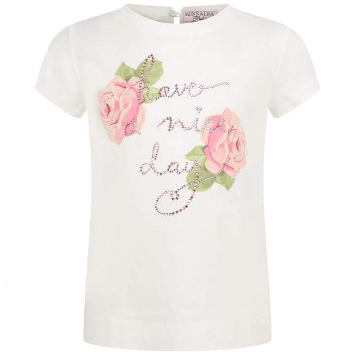 MonnaLisa MonnalisaBaby Girls Ivory Have A Nice Day Rose Top