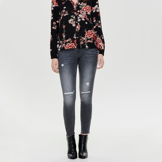 Only Cotton Skinny Stretch Jeans with Zipped Hems