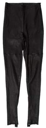 Maison Margiela Mid-Rise Leather Leggings