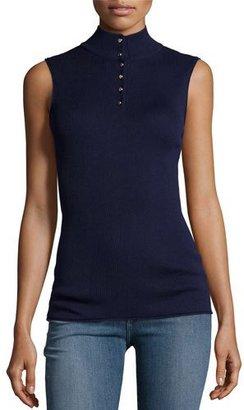 FRAME Sleeveless Rib Mock-Neck Sweater, Navy $199 thestylecure.com