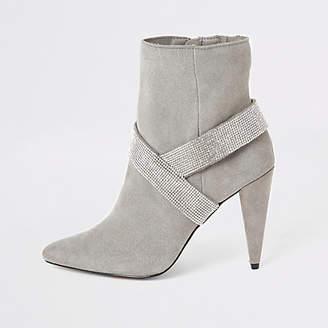 River Island Grey suede embellished strap heeled boots