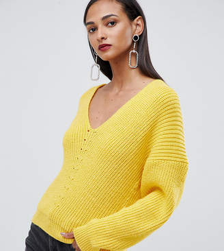 Asos Tall DESIGN Tall v neck sweater in moving rib