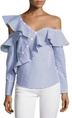Self-Portrait Striped Frill Asymmetric Shirt, Navy/White $410 thestylecure.com