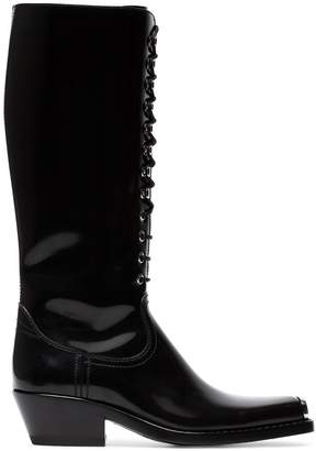 Calvin Klein Black Western Faye 40 Leather Boots