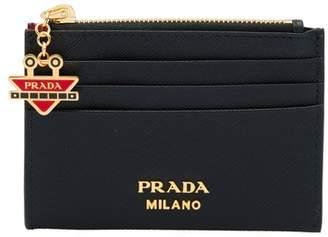 Prada Saffiano Card Holder With Robot Charm