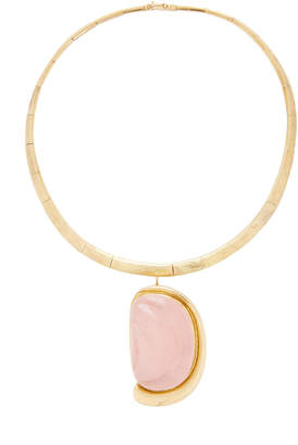 Mahnaz Collection Limited Edition 18K Gold And Forma Livre Carved Rose Quartz Brooch Pendant On A Torque Collar By Haroldo Burle Marx C. 1975
