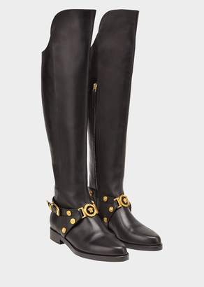 Versace Knee-High Tribute Flat Boots