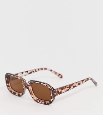 Monki square shape sunglasses in brown tortoise