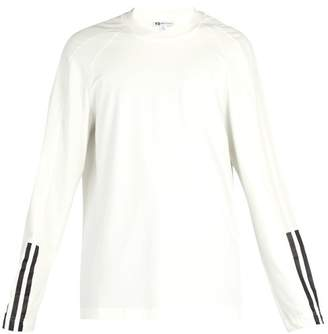 Y-3 Y 3 Three Stripe Long Sleeve Cotton Jersey Top - Mens - White