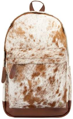 MAHI Leather - Classic Cowhide Leather Backpack Rucksack In Brown & White