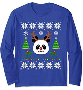 Cute Panda Rudolph Reindeer Christmas Long Sleeve Tshirt