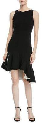 Halston Sleeveless Dress w/ Flounce Ruffle Hem