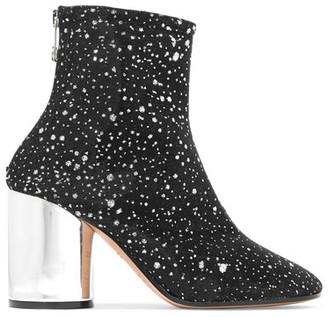 Maison Margiela - Metallic Leather-trimmed Glittered Canvas Ankle Boots - Black $990 thestylecure.com