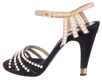 Chanel CC Faux-Pearl Sandals