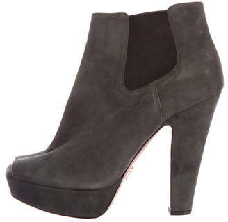 prada Prada Suede Leather Peep-Toe Booties