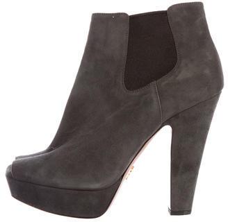 pradaPrada Suede Leather Peep-Toe Booties