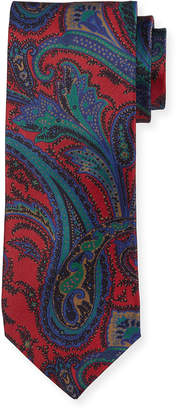 Neiman Marcus Italian-Made Tapestry Silk Tie, Red