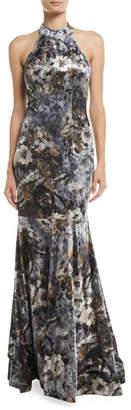 Jovani Devore Floral Velvet Halter Gown