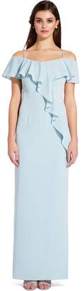 Adrianna Papell Aqua Dust Flounce Crepe Dress