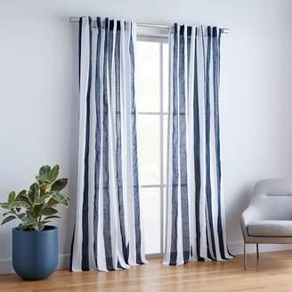 west elm Cabana Stripe Curtains (Set of 2) - Midnight